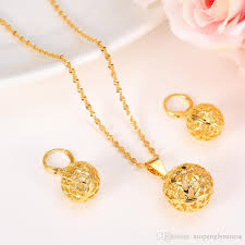 2019 round ball pendant necklace chain earrings lantern sets jewelry 14k real yellow fine gold bead necklaces sets for women from xinpengbusiness