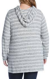 Karen Kane <b>Womens</b> Hoodie White Gray Size 1X Plus <b>Striped</b> ...