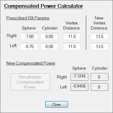 Vertex Distance Chart Compensated Power And Vertex Distance Www Virtuallens Com