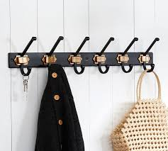 Row Of Hooks Coat Rack Black Brass Numbered Row of Hooks Pottery Barn 15