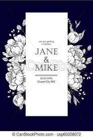 Dark Blue Wedding Invitation Card Template With Vector Peony And Roses