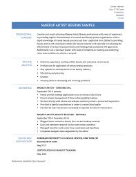 Makeup Artist Resume Templates Empty Template Examples For