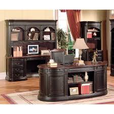 yuan tai kahula 3pc executive desk hutch credenza in black dark cherry finish in