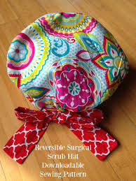 Scrub Cap Pattern New Scrub Hat Sewing Pattern DIY Reversible ADesignbyAngie