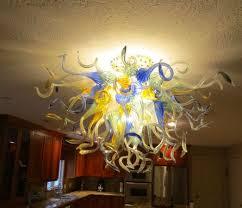 hand blown glass chandelier lighting amber blue white