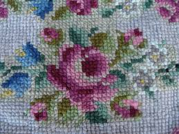 Hanging Rugs Vintage Handmade Cross Stitch Wool Rug Floral Shabby Chic Cottage