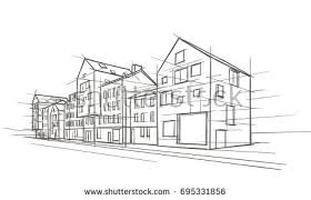 modern architectural sketches. Modern Architectural Drawing. Vector. Sketches R