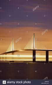 Sunshine Skyway Bridge At Night Tampa Bay Florida Stock