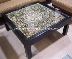 glass top indian wooden center table