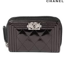 chanel zip card case. chanel purse / card case. chanel a80748 boy metallic dark brown silver fittings zip case h