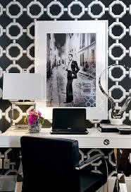 trendy office ideas home offices. Contemporary Home Office By Atmosphere Interior Design Inc., Black And White Glamour, Bold Wallpaper Pattern Trendy Ideas Offices