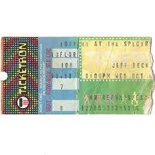 Jeff Beck Concert Ticket Stub Philadelphia Pa 10 8 80 The Spectrum