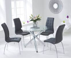 mark harris odessa glass round dining set with 2 california grey chairs 100cm