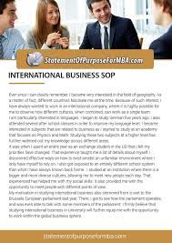 Statement Of Purpose For Mba In International Business