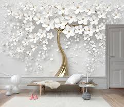 3D Gold Tree Floral Wallpaper White 3D ...