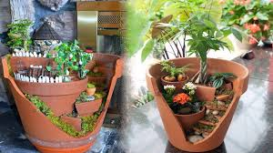 make a miniature garden landscape in a broken plant pot