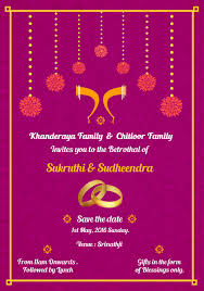 Simple South Indian Ring Ceremony Invite Card Design Designed By