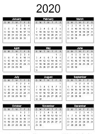 Free Printable Calendar 2020 Template In Pdf Word Excel