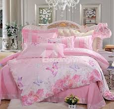 high quality pink flower and erfly print 4 piece duvet cover