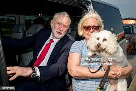 Labour leader Jeremy Corbyn meets Betty Keegan with her dog ...