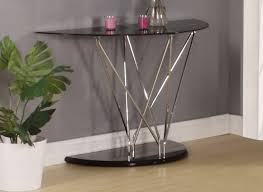 telephone console table. console table design, black chrome and glass half moon shape base wooden floor stainless frame telephone t