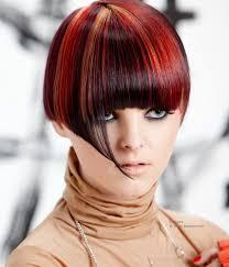 Korte Haarsnit Met Een Korte Nek En Stroken Gekleurd Haar