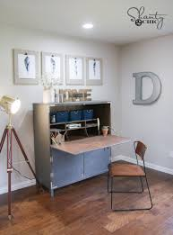 to hide the papers and stuff and really have a beautiful functional space so check out our solution here is the diy flip top secretary we designed
