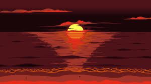 Wallpaper Red, Sun, Pixel Art, 8-Bit ...