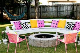 diy round outdoor table. DIY: Circle Bench Around Your Fire Pit - Patio-outdoor-furniture, Grills Diy Round Outdoor Table L