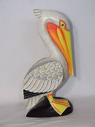 12 pelican finely painted hand carved wood tropical sculpture bird decor