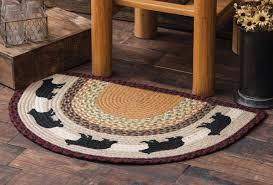 black bear half round braided rug