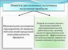 Курсовая работа на тему прибыли презентация онлайн получения прибыли Второй источник связан с производственной и Монопольное положение предпринимательской предприятия по выпуску деятельностью поэтому