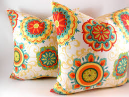Red And Turquoise Living Room Pillow Cover Indoor Outdoor Orange Red Yellow Green Teal Any Size