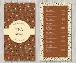 Vector Tea Menu Template Restaurant Or Cafe Background Herbal