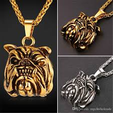 whole u7 new hot american pit bull terrier dog pendant necklaces gold plated stainless steel fashion retro punk pug jewelry for women men gp2416