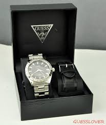 new guess men watch silver stainless steel black leather u10584g1 store categories