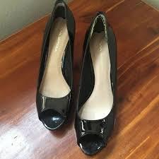 details about via spiga black patent leather open toe platform pump heels sz 7 5m