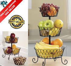 3 tier fruit basket bowl holder stand kitchen vegetables storage organizer decor