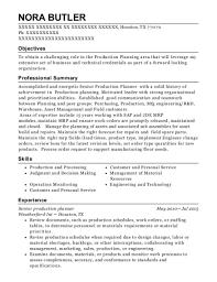 Best Senior Production Planner Resumes Resumehelp