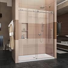 frameless glass shower doors. DreamLine Enigma-X 56-60 In. W X 76 H Fully Frameless Sliding Shower Door In Brushed Stainless Steel, SHDR-61607610-07 Glass Doors