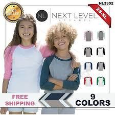 Next Level Youth Cvc 3 4 Sleeve Raglan Baseball T Shirt M