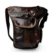 men genuine leather waist bag for iphone phones outdoor leg bag cross bags
