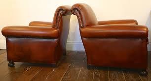 ... Club Chair Antique Leather Pair