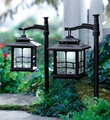 LED Shepherds Hook Solar Lantern Lighting Plow Hearth
