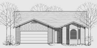house front color elevation view for 9934wd one story house plans narrow lot house plans