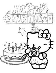 I think hello kitty cooked a tasty cake for her birthday! Hello Kitty Cake And Star Birthday Coloring Page Coloring Home