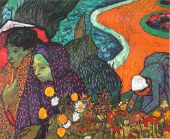 saatchi art artist claude guillemet painting women in arles after van gogh
