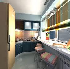 galley kitchen design ideas window breakfast bar black cabinets colorful window shades