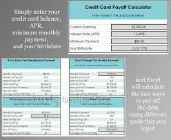 Easy Excel Credit Card Payoff Calculator Debt Calculator Payoff Calculator Excel Template Budget Planner