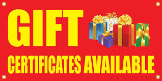 Gift Certificate Sign Gift Certificate Available Vinyl Display Banner W Grommets 2hx4w